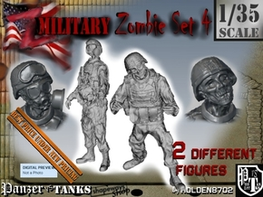 1-35 Military Zombie Set 4 in Smooth Fine Detail Plastic