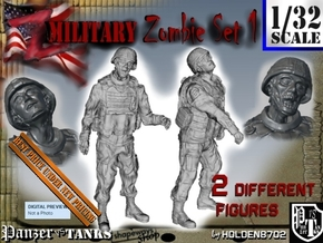 1-32 Military Zombie Set 1 in Smooth Fine Detail Plastic
