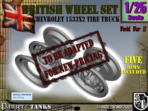 1-25 Chevy LRDG Rims FUD Set4 in Transparent Acrylic