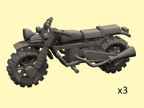 28mm Crude Motorbikes model 1 - X3 in Smooth Fine Detail Plastic