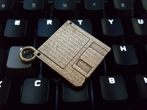 "3.5"" Floppy Disk Pendant / Keychain in Polished Bronzed Silver Steel"