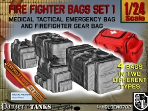 1-24 Med Tac Emerg And Firefight Gear Bag Set in Smooth Fine Detail Plastic