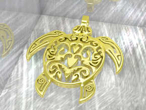 Pendant Turtle Tribal Pattern 002 - MCDStudios in Polished Brass