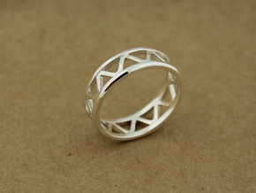 Corrugated Ring  in Polished Silver: 5 / 49