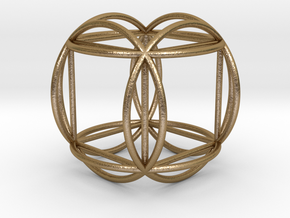 "Hexasphere w/nested Hexahedron 1.8"" (nb) in Polished Gold Steel"