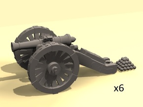1/220 Prussian Dieskau M1754 6-pdr cannon (6) in Smoothest Fine Detail Plastic