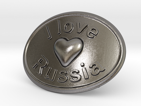 I Love Russia Belt Buckle in Polished Nickel Steel