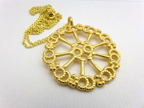 Axoneme Pendant - Science Jewelry in Polished Gold Steel