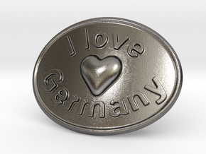 I Love Germany Belt Buckle in Polished Nickel Steel