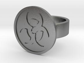 Biohazard Ring in Natural Silver: 8 / 56.75