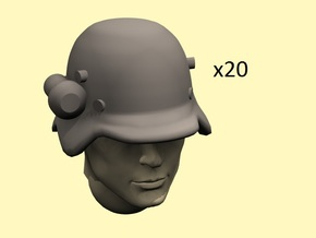28mm early German helmets with flashlight in Frosted Extreme Detail