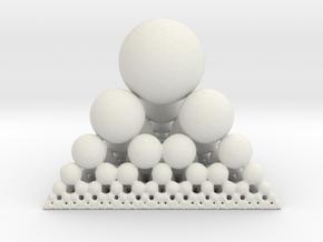 Spheres Sierpinski Tetrahedron in White Natural Versatile Plastic