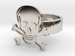 Skull & Crossbones Ring in Rhodium Plated: 10 / 61.5