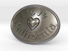 I Love California Belt Buckle in Polished Nickel Steel