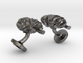 Cannabis Nugget Cufflinks in Polished Nickel Steel