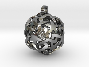 12-Stars sphere pendant in Polished Silver