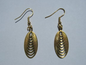 Nine Moebius Earrings in Natural Brass