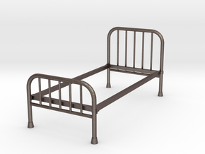 1:24 Iron Bed 1 (Not Full Size) in Polished Bronzed Silver Steel