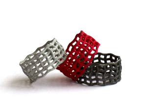 Spider web nested ring  in Black Natural Versatile Plastic
