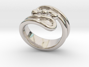 Threebubblesring 19 - Italian Size 19 in Rhodium Plated Brass