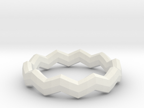 Zig Zag Ring in White Natural Versatile Plastic: 4 / 46.5
