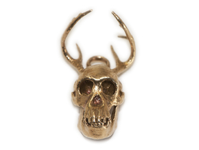 Buck-Chimp Fantasy Pendant in Natural Brass