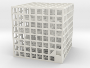 Maze 04, 4x4x4 in White Strong & Flexible