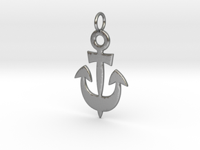 Anchor Symbol Pendant Charm in Natural Silver