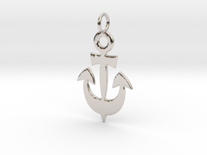 Anchor Symbol Pendant Charm in Rhodium Plated Brass