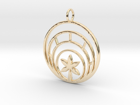 Plant In Circle Pendant Charm in 14k Gold Plated Brass