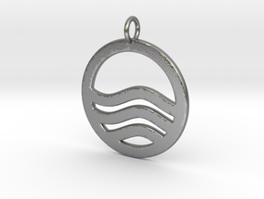 Sea Ocean Waves Symbol Pendant Charm in Natural Silver