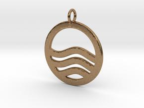 Sea Ocean Waves Symbol Pendant Charm in Natural Brass