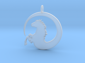 Pretty Horse In Circle Pendant Charm in Smooth Fine Detail Plastic