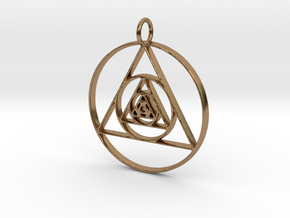 Modern Abstract Circles And Triangles Pendant in Natural Brass