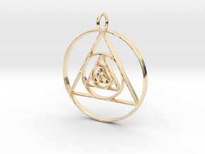 Modern Abstract Circles And Triangles Pendant in 14K Yellow Gold