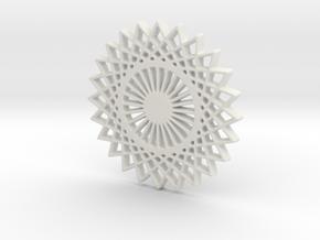 Stylized Sun Modern Pendant Charm in White Strong & Flexible