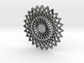 Stylized Sun Modern Pendant Charm in Polished Silver