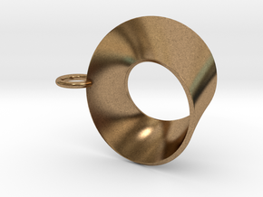 Moebius pendant with loop in Natural Brass