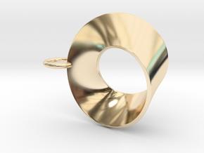 Moebius pendant with loop in 14K Yellow Gold