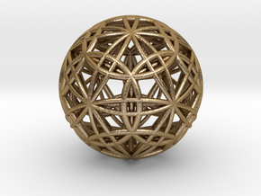 IcosaDodecasphere with Icosahedron & Dodecahedron in Polished Gold Steel