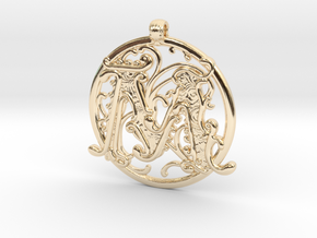 "Fantasy ""M"" Pendant in 14k Gold Plated Brass"