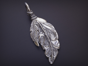 Feather Pendant in Raw Silver