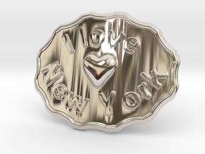 I Love New York Belt Buckle in Platinum