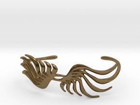 Feathery Bracelet (Cuff) in Polished Bronze