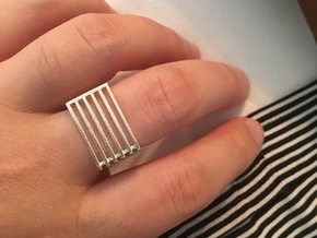 Square Ring Six Levels in Natural Silver