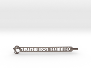 Yellow Boy Tomato Plant Stake in Polished Bronzed Silver Steel