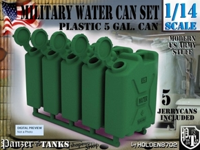 1-14 Military Water Can 5 Units in Green Processed Versatile Plastic