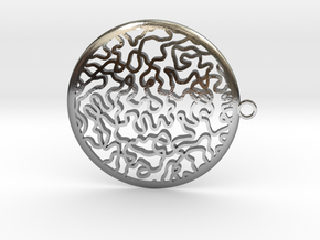 Circular timeless pendant in Polished Silver