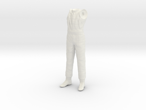 1/24 F1 Driver Standing Body in White Natural Versatile Plastic