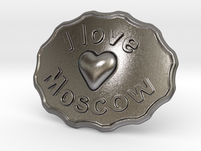 I Love Moscow Belt Buckle in Polished Nickel Steel